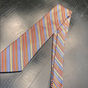 New orange blue striped silk tie Izod WDE